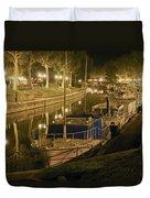 Narbonne France Canal De La Robine At Night Dsc01657  Duvet Cover