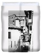 Narrow Streets Of Albarracin  Black And White Duvet Cover