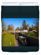 Narrowboat In Lock Duvet Cover