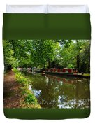 Narrowboats Moored On The Wey Navigation In Surrey Duvet Cover