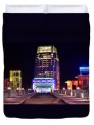 Nashville Sight Night Skyline Pinnacle Panorama Color Duvet Cover by Jon Holiday