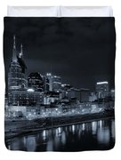 Nashville Skyline At Night Duvet Cover