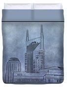 Nashville Skyline Sketch Duvet Cover