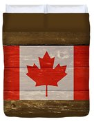 Canada National Flag On Wood Duvet Cover