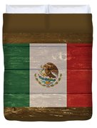 Mexico National Flag On Wood Duvet Cover