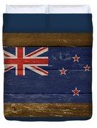 New Zealand National Flag On Wood Duvet Cover