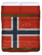 Norway National Flag On Wood Duvet Cover