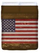 United States Of America National Flag On Wood Duvet Cover