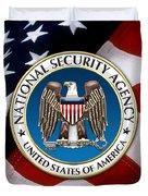 National Security Agency - N S A Emblem Emblem Over American Flag Duvet Cover