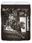 National Stock Show Bareback Riding Duvet Cover by Priscilla Burgers