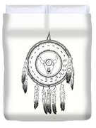 Native American Ceremonial Shield Number 2 Black And White Duvet Cover