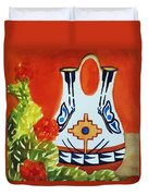 Native American Wedding Vase And Cactus-square Format Duvet Cover