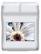 Native American White Feathers Headdress Duvet Cover