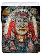 Native American Wood Carving Duvet Cover