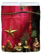 Nativity Scene In Red Duvet Cover