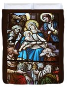 Nativity Stained Glass Duvet Cover