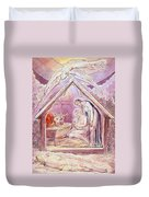Nativity With Two Angels Duvet Cover