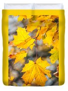 Natural Patchwork. Golden Mable Leaves Duvet Cover