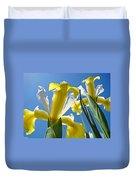 Nature Art Prints Yellow White Irises Flowers Duvet Cover