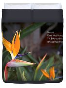 Nature Does Not Hurry Bird Of Paradise Duvet Cover