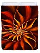 Nautilus Fractalus Fire Duvet Cover