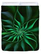 Nautilus Fractalus Verdant Green Duvet Cover
