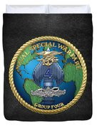 Naval Special Warfare Group Four - N S W G-4 - On Black Duvet Cover