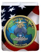 Naval Special Warfare Group Four - N S W G-4 - Over U. S. Flag Duvet Cover