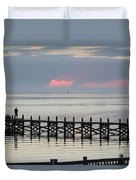 Navarre Beach Sunset Pier 17 Duvet Cover