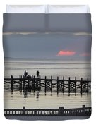 Navarre Beach Sunset Pier 18 Duvet Cover