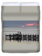 Navarre Beach Sunset Pier 25 Duvet Cover