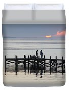 Navarre Beach Sunset Pier 26 Duvet Cover