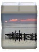 Navarre Beach Sunset Pier 28 Duvet Cover