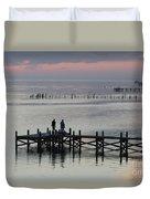 Navarre Beach Sunset Pier 33 Duvet Cover