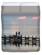 Navarre Beach Sunset Pier 35 Duvet Cover