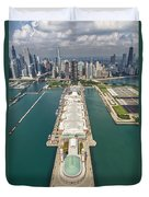 Navy Pier Chicago Aerial Duvet Cover by Adam Romanowicz