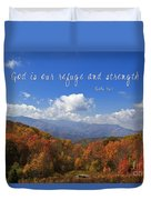 Nc Mountains With Scripture Duvet Cover