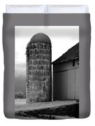 Near Infrared Old Michigan Barn With Silos Bw Usa Duvet Cover