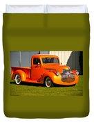 Neat Vintage Chevrolet Truck In Bright Orange Duvet Cover