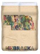 Nebraska Map Vintage Watercolor Duvet Cover