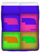 Nebraska Pop Art Map 1 Duvet Cover