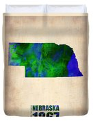 Nebraska Watercolor Map Duvet Cover