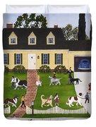 Neighborhood Dog Show Duvet Cover
