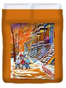 Neighborhood Street Hockey Game Last Call Time For Dinner  Montreal Winter Scene Art Carole Spandau Duvet Cover