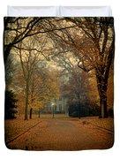 Neighborhood Street In Autumn Duvet Cover