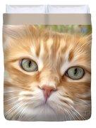 Yellow Cat Digital Art Duvet Cover