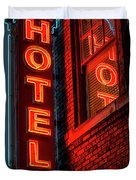 Neon Sign For Hotel In Texas Duvet Cover