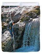Net Fishing In Bulkley River In Moricetown-british Columbia-canada Duvet Cover