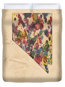 Nevada Map Vintage Watercolor Duvet Cover