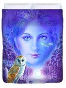 New Age Owl Girl Duvet Cover